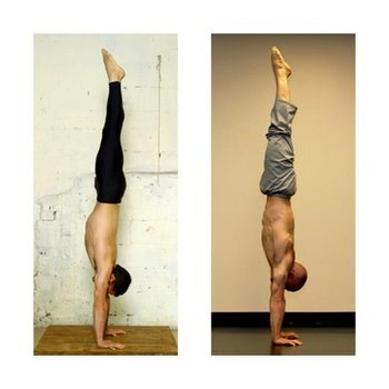 Here's a great example from Yuval Ayalon, a master hand balancer who is constantly working on making his handstand prettier.