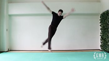 practicing an aerial pirouette
