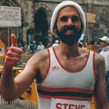 Stephen Stern finishes a marathon