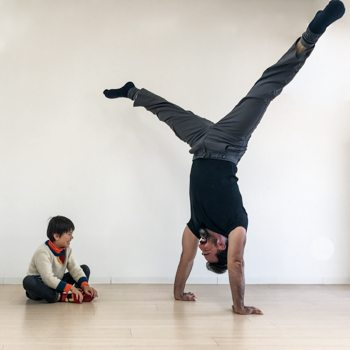 Ryan Hurst performing a handstand for his son