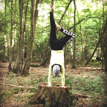 Handstand on tree stump