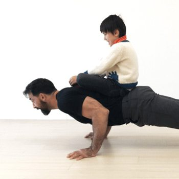 Push-up with child on your back