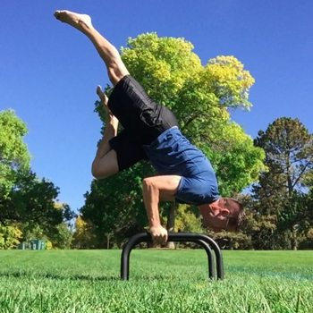 outdoor bent arm stand using parallettes
