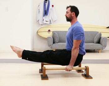 L-sit Bodyweight Exercise on parallettes