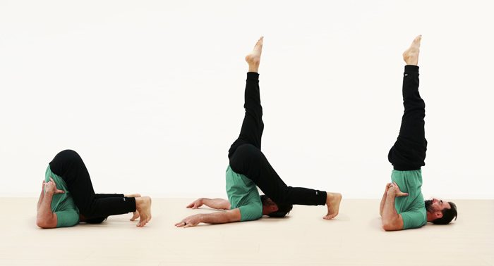 Ryan Hurst performing a candle stretch