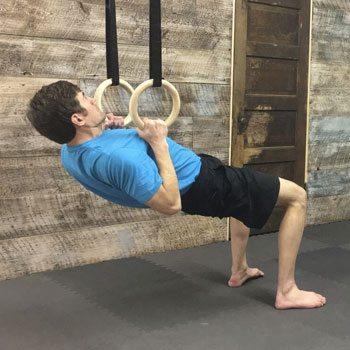 Inverted row shoulder exercise on rings