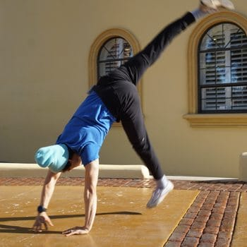 Chris performing a cartwheel