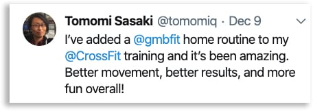 Screenshot of a tweet from someone who used GMB to improve their CrossFit performance
