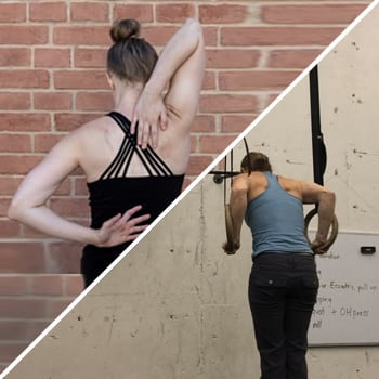 Woman stretching shoulders to help with ring dips