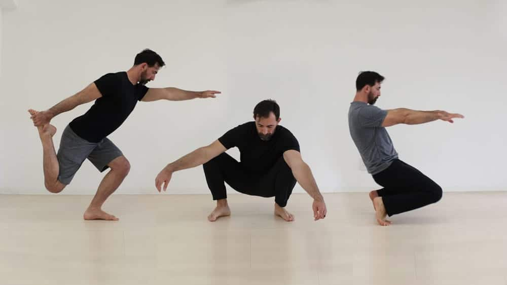 Three versions of a man in an empty room, left to right: doing a shrimp squat, squatting on the ground, and balancing with bent knees on the balls of his feet. From GMB Fitness.
