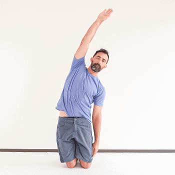 tall kneeling arm raise to side shoulder stretch