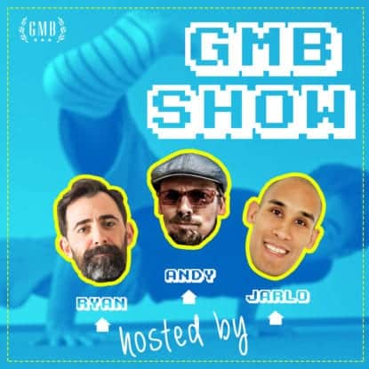 GMB Podcast Banner - three dudes' heads floating on a blue background