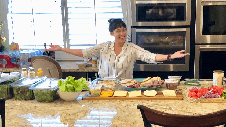 amber with buffet of healthy food
