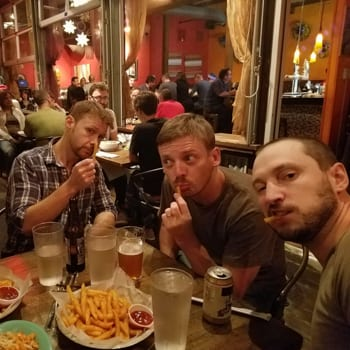guys eating french fries