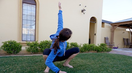Woman stretching outdoors