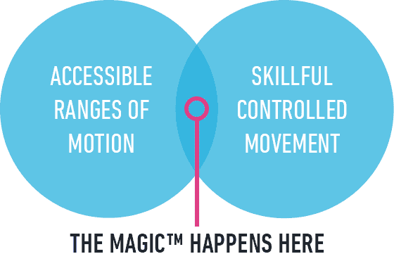 Venn diagram showing the combination of accessible ranges of motion and skillful controlled movement