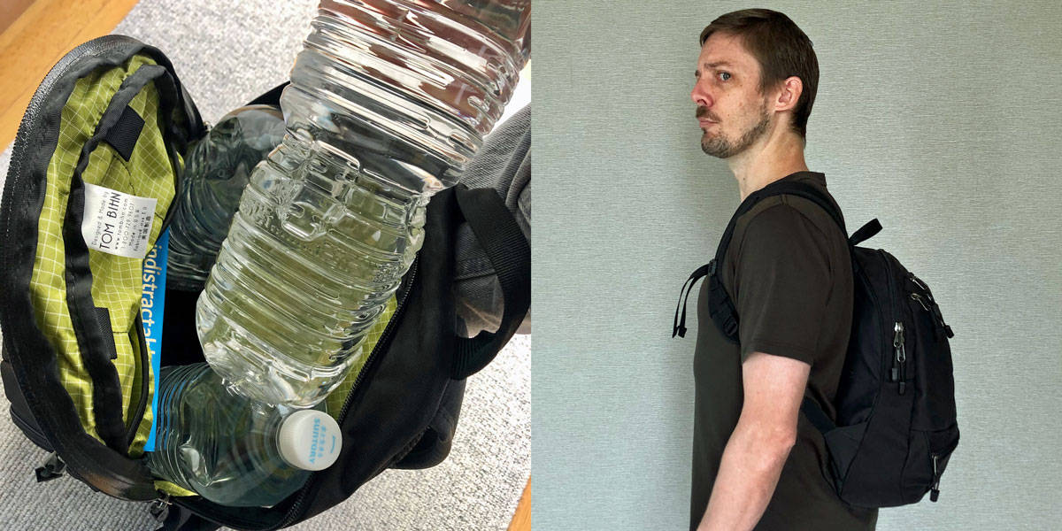 loading up a backpack to carry for exercise