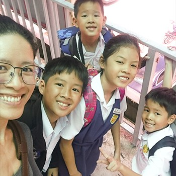 Michelle Ho with her kids