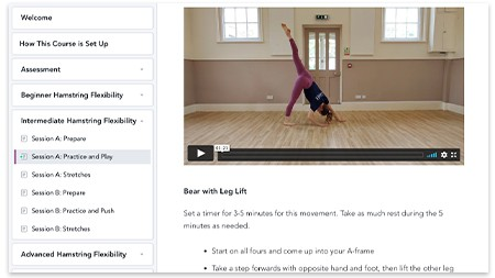 A screenshot of the Hamstring Flexibility course
