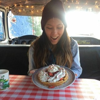 Amber with her waffle