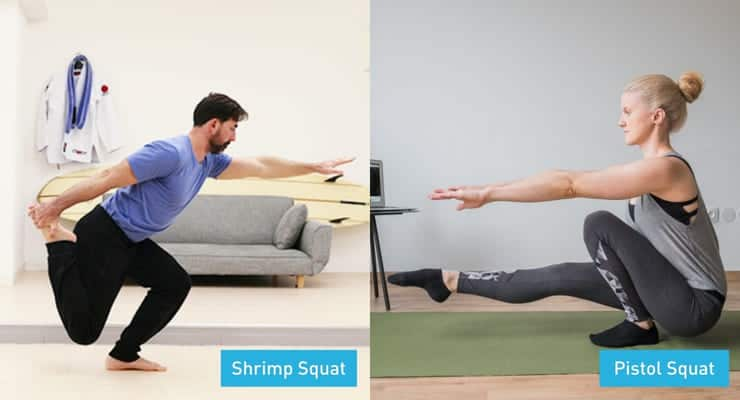 differences in knee going past the toes with the shrimp and pistol squat