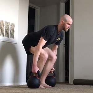 GMB Mobility client Rob Arthur practicing kettlebell deadlifts
