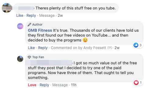 Facebook comment about how you don't need to buy GMB programs because everything is free on YouTube anyway, hahahaha