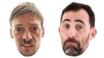 Tiny Ryan and Andy heads