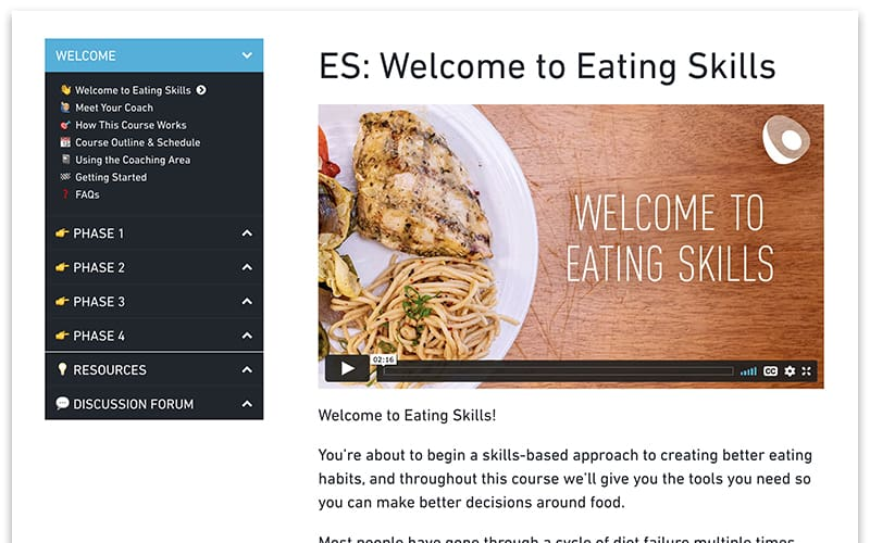 Screenshot of the welcome page of the Eating Skills course
