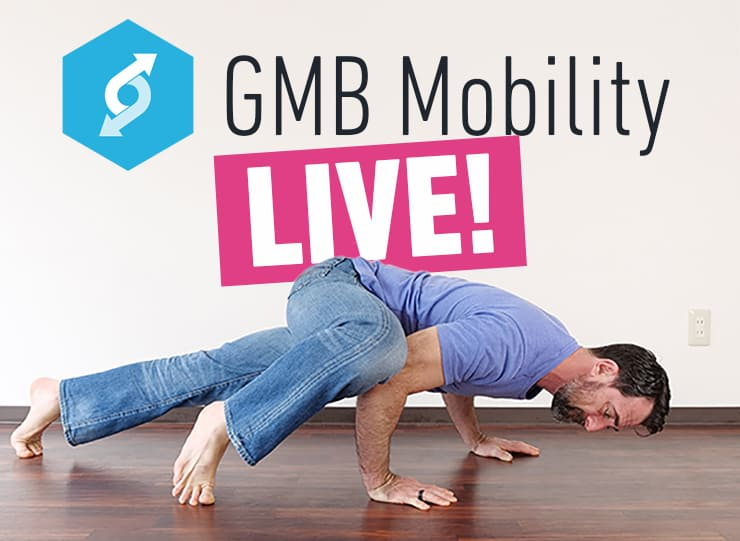 """GMB Mobility logo with the word """"Live!"""" and a man doing an exercise from the program"""
