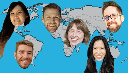A map of the world with faces scattered all over it